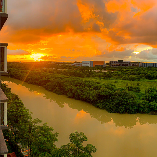 """Sunrise from Rio Vista Apartments"" stock image"