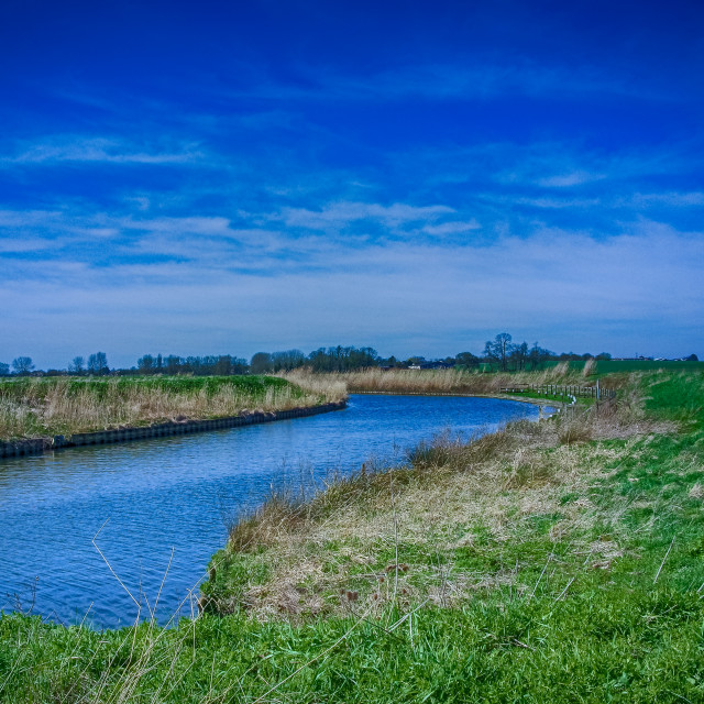 """The Old River West in The Fens, East Anglia, UK"" stock image"