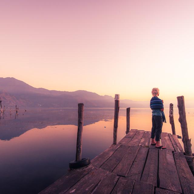 """""""Sunrise, Lake Atitlan"""" stock image"""