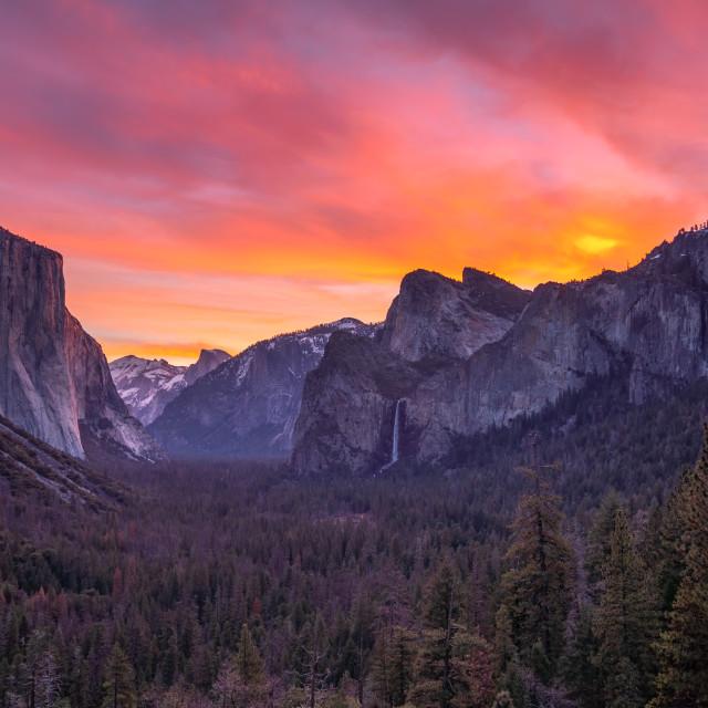 """Yosemite Valley sunrise"" stock image"