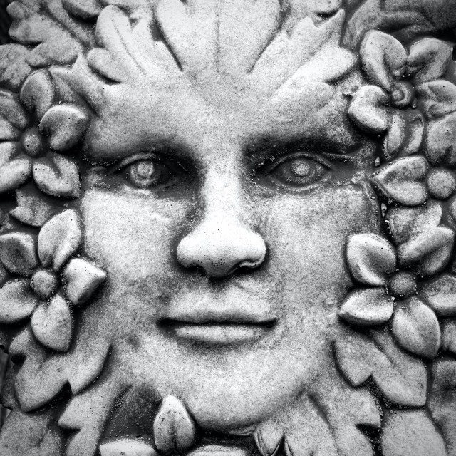 """""""Mythical Stone Face Plaque"""" stock image"""