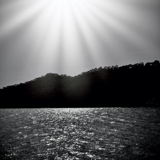 """""""Dramatic Sunburst Scenic Silhouette"""" stock image"""
