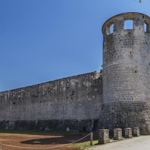 """Morosini-Grimani stone castle, Svetvincenat, Istria, Croatia"" stock image"