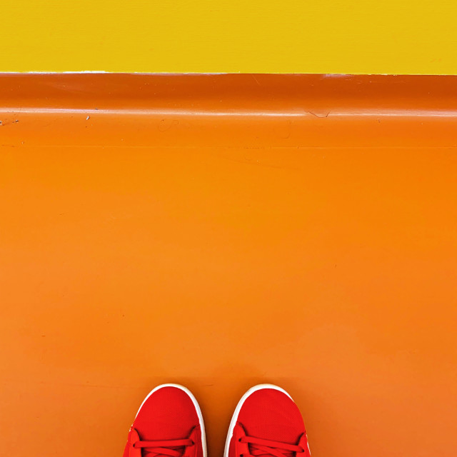 """My red shoes (point of view)"" stock image"