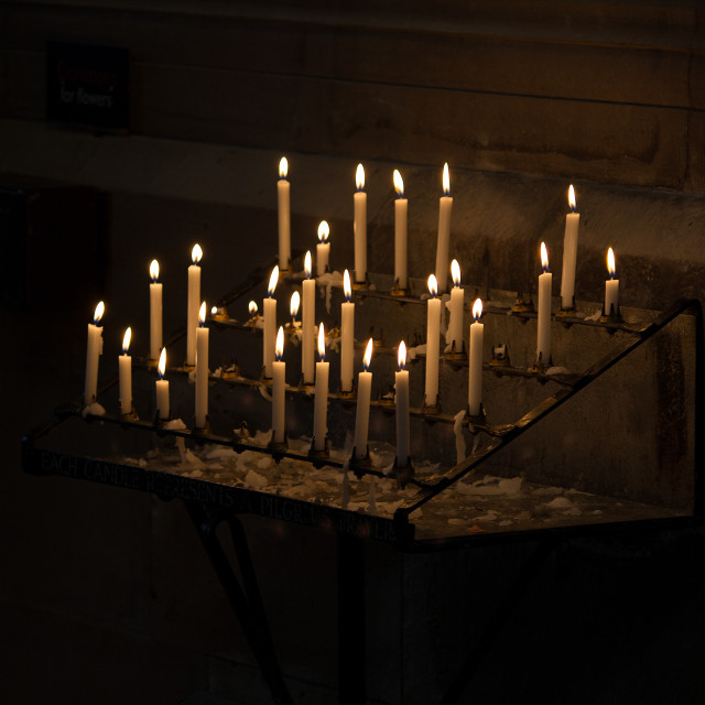 """Church candles in Hereford Cathedral"" stock image"