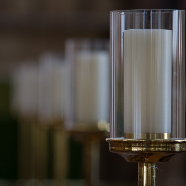 """Display candle in glass case"" stock image"