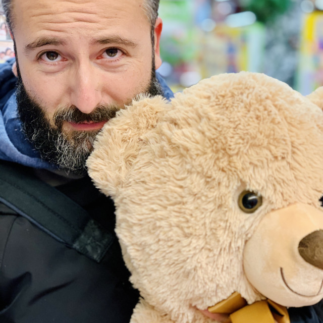 """The man who loved a bear"" stock image"