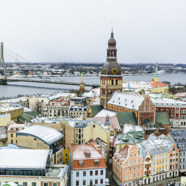 """""""View over Riga Old Town city centre and Daugava River, with snow covered..."""" stock image"""