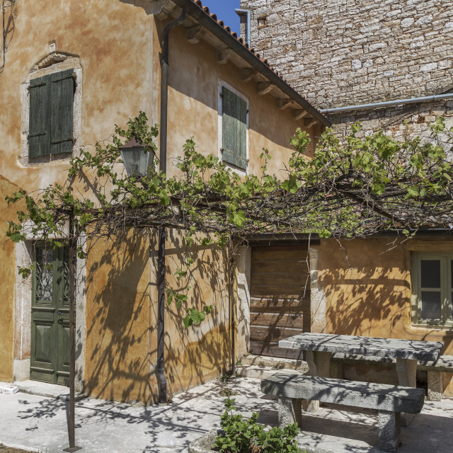 """Ancient colorful stone house, Svetvincenat, Istria, Croatia"" stock image"