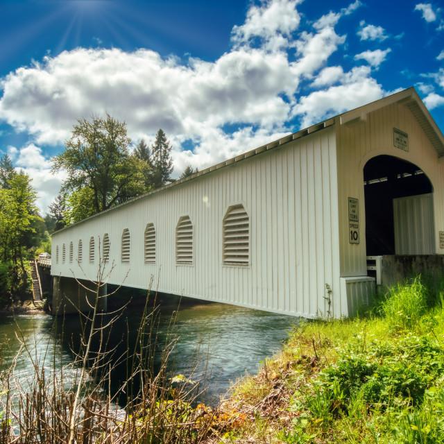 """Goodpasture Covered Bridge, Lane County, Oregon"" stock image"