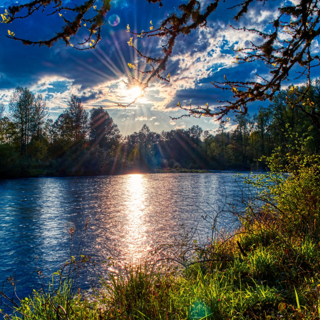 """""""Clearwater Park, Willamette River, Springfield, Oregon, sunset"""" stock image"""