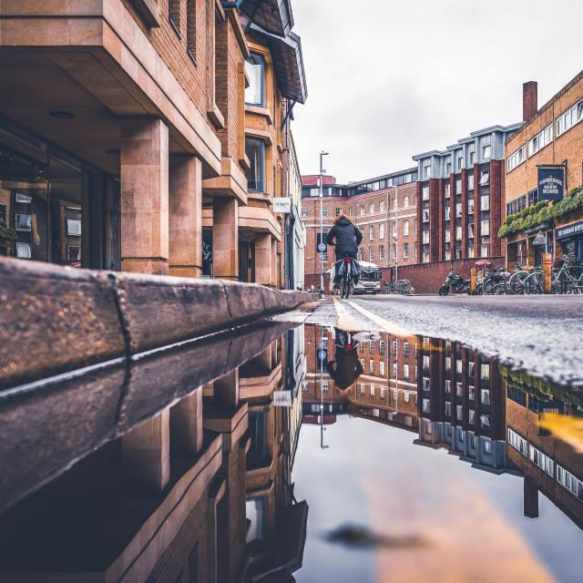 """Reflections, King Street, Cambridge UK."" stock image"