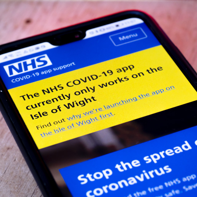 """NHS Covid-19 App which the British government is currently testing"" stock image"