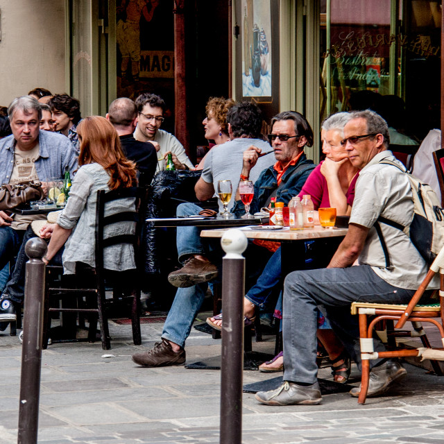 """""""Relaxing at a Pavement Cafe in Paris"""" stock image"""