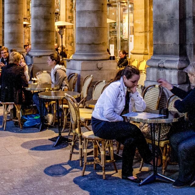 """Pavement Cafe in Paris, evening scene."" stock image"