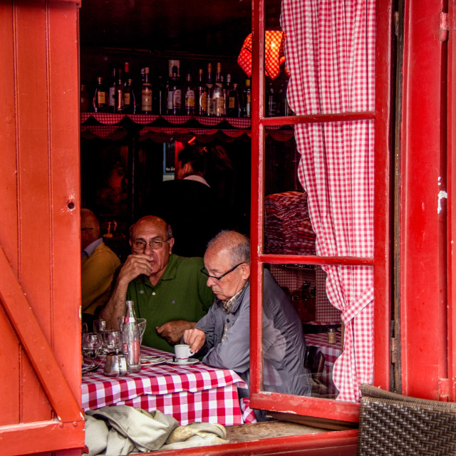 """""""Pavement Cafe in Paris, inside the Cafe."""" stock image"""