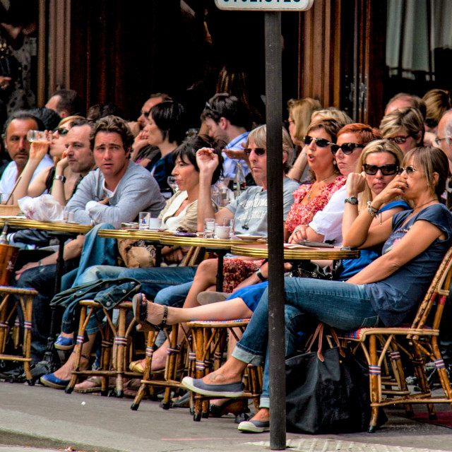 """""""Very Busy Pavement Cafe in Paris"""" stock image"""
