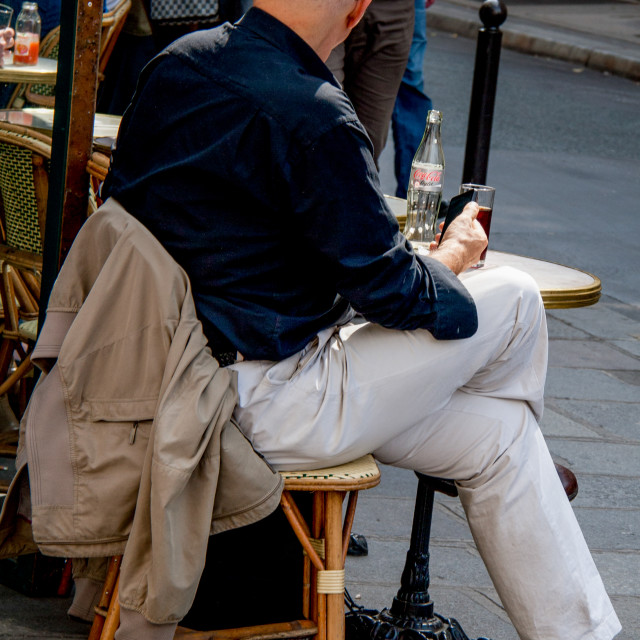 """""""Lonely Drink in Pavement Cafe in Paris"""" stock image"""