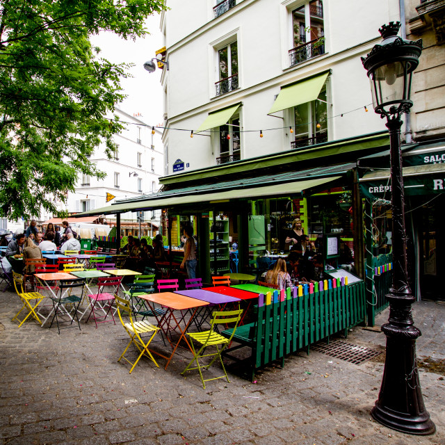 """Empty Pavement Cafe in Paris"" stock image"