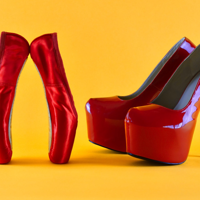 """""""Shoe Stories : The Red Shoes, Toe To Toe"""" stock image"""