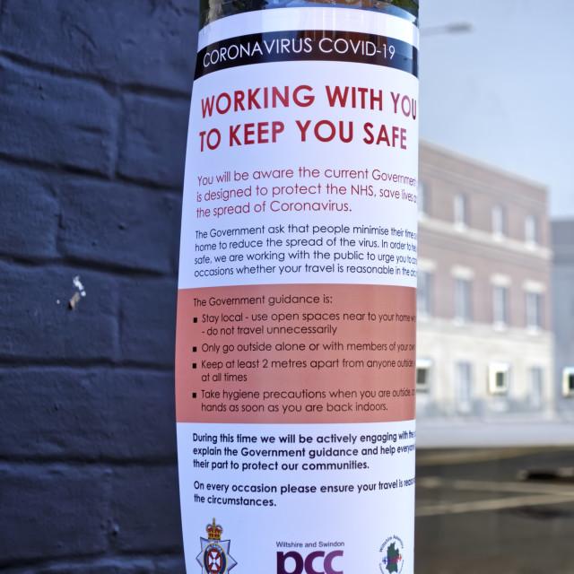 """A Wiltshire and Swindon PCC Coronavirus information sign"" stock image"