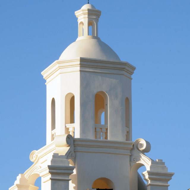 """""""Architectural detail, Mission San Xavier del Bac"""" stock image"""