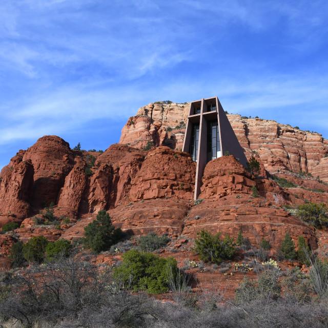 """""""Chapel of the Holy Cross, Sedona"""" stock image"""