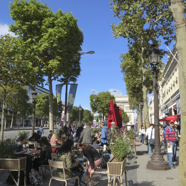 """Terrace of a cafe on the Champs-Elysees"" stock image"
