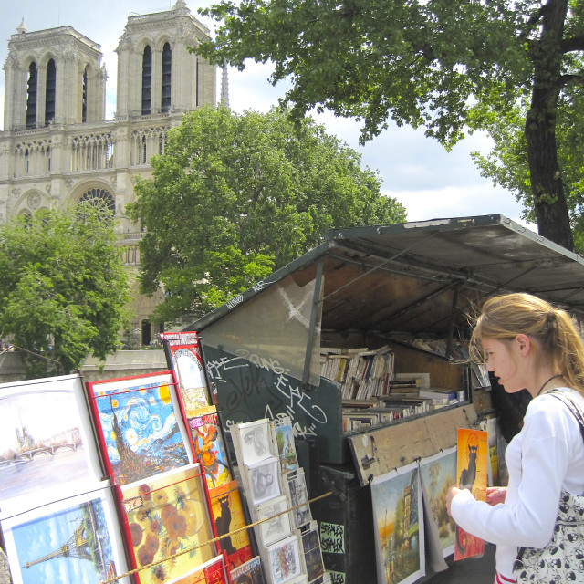 """Second-hand book-seller stall near Notre-Dame Cathedral"" stock image"