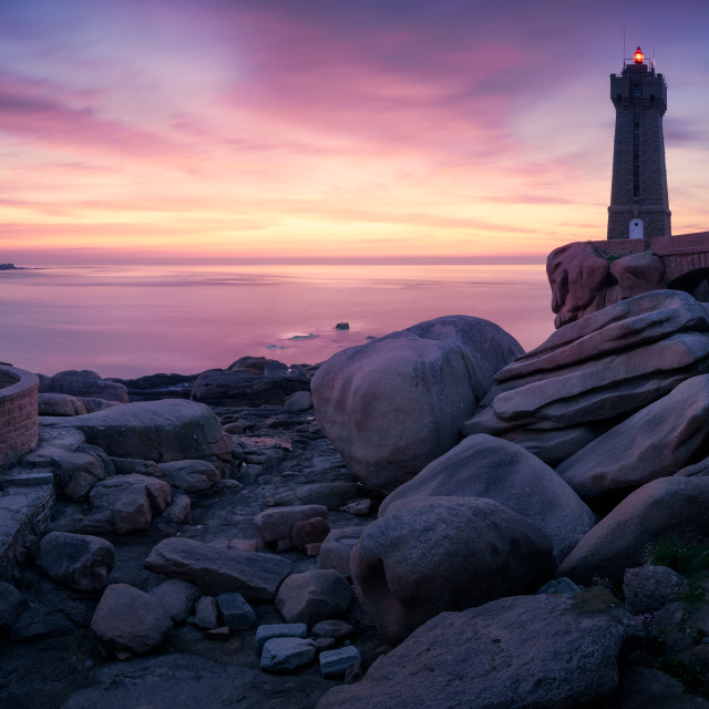 """""""The Ploumanac'h lighthouse, Brittany, France"""" stock image"""