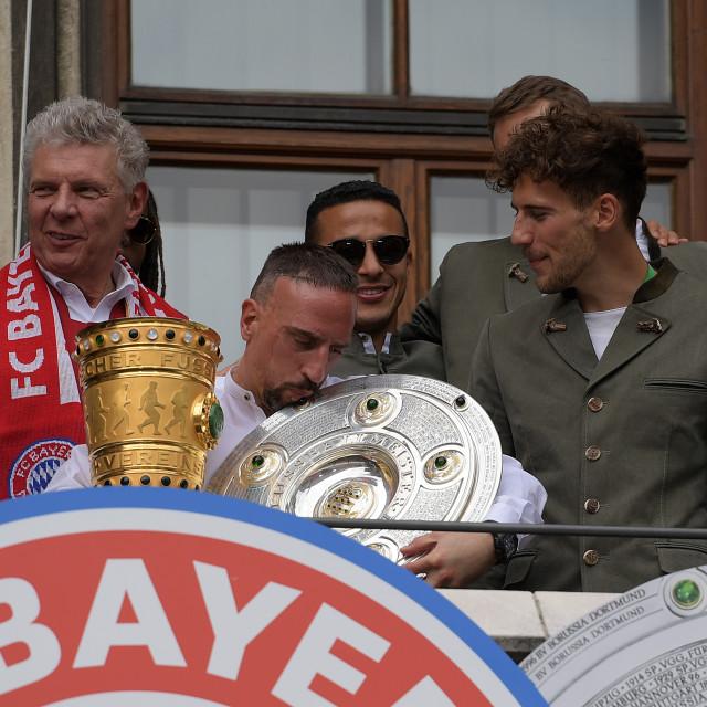 """Soccer Bundesliga, FC Bayern Muenchen - title celebration 2019"" stock image"