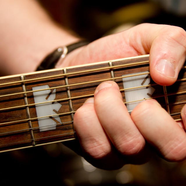 """""""Guitar, finger placing for a chord"""" stock image"""