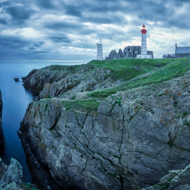 """""""Panoramic view of the Saint Mathieu lighthouse, Brittany, France"""" stock image"""