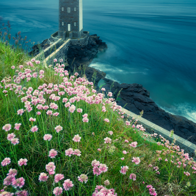"""""""Kermorvan lighthouse marking the harbor of Le Conquet, Britanny, France"""" stock image"""