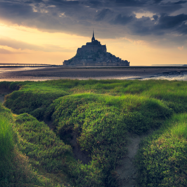 """""""The Mont Saint Michel at the sunset and before the storm. Normandy, France"""" stock image"""
