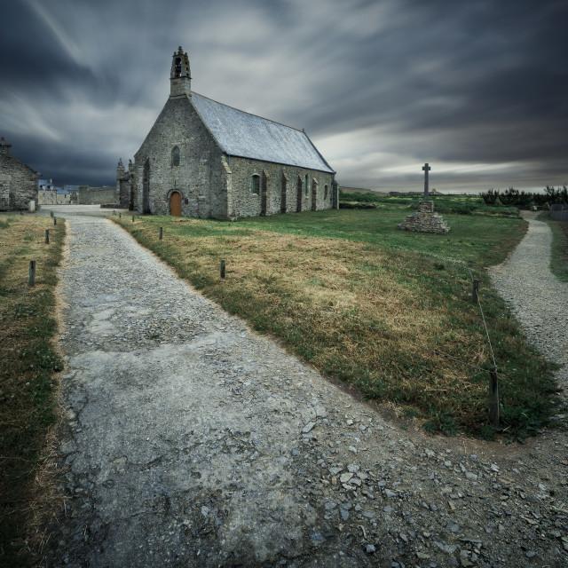 """""""Chapelle Notre-Dame Des Graces, Plougonvelin, Brittany, France"""" stock image"""