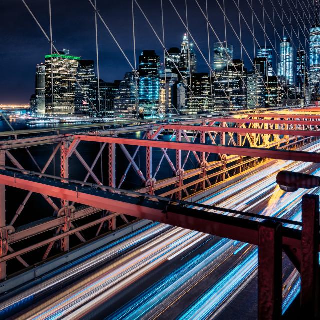 """New York City Skyline at night, United States of America"" stock image"