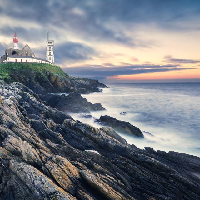 """The Saint Mathieu lighthouse, Brittany, France"" stock image"