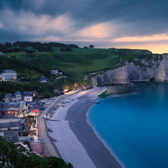 """The chalk cliffs of Etretat. Etretat, Normandy, France"" stock image"
