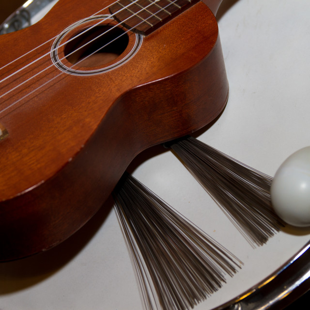 """""""Snare Drum, Brushes, Acoustic Guitar and Egg Shaker."""" stock image"""