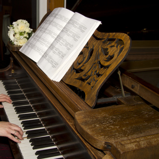 """""""Playing a Grand Piano"""" stock image"""