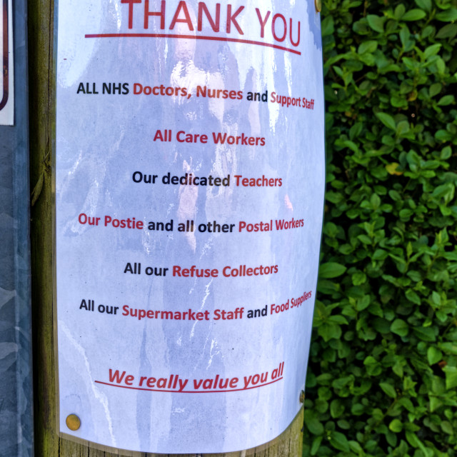 """""""A Thank you all key workers notice on a telegraph pole"""" stock image"""