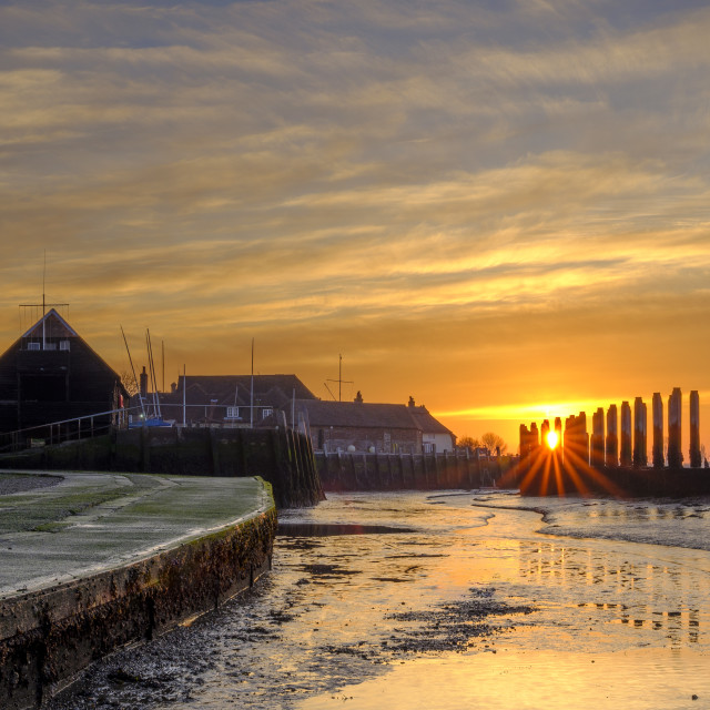 """Sunrise at Bosham Quay, West Sussex, UK"" stock image"