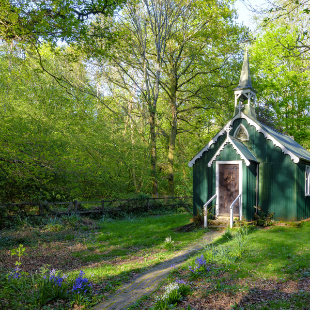 """The Church in the Woods of Bramdean Common, Hampshire"" stock image"