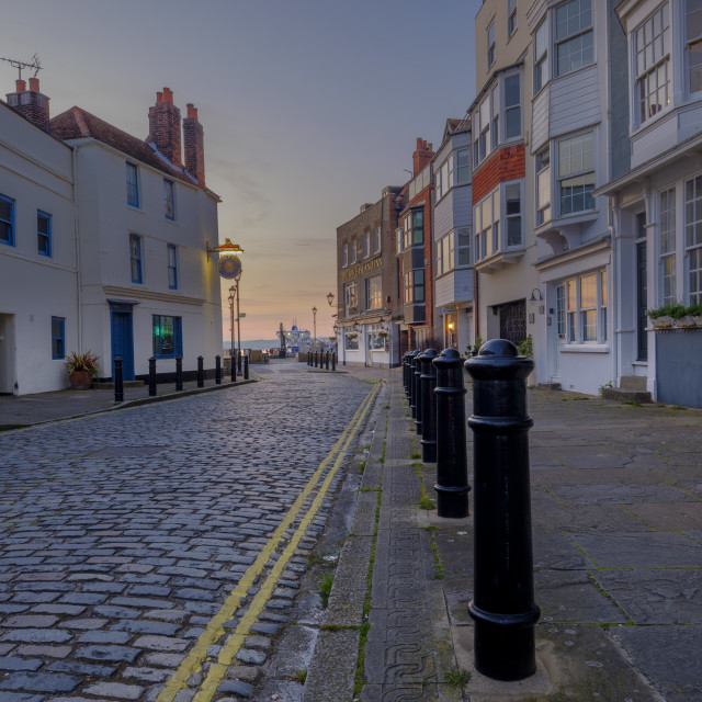 """The view along Spice Island in Old Portsmouth, Hampshire, UK"" stock image"