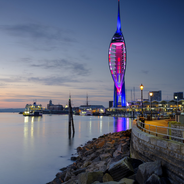 """Spinnaker Tower at sunset from Old Portsmouth, UK"" stock image"