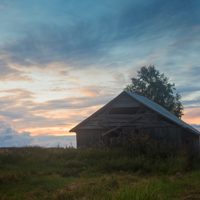 """""""Barn House And A Dramatic Sunset"""" stock image"""