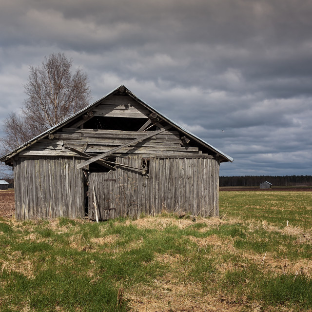 """""""Wooden Barn Houses On The Fields"""" stock image"""