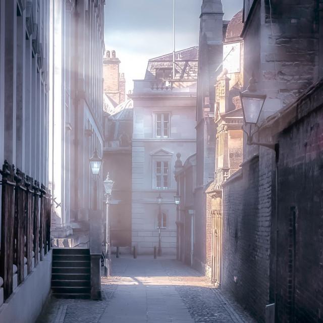 """A Foggy Senate House Passage, Cambridge UK."" stock image"