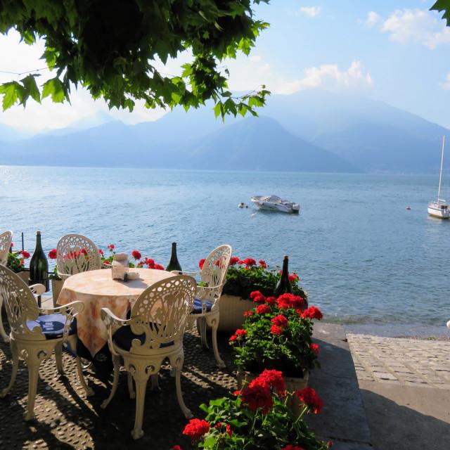 """Cafe at the lake"" stock image"
